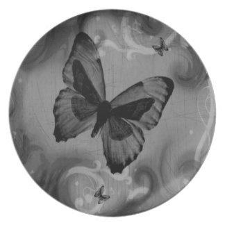Mariposa negra animal abstracta plato de cena
