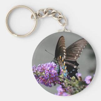 Mariposa negra de Swallowtail Llavero Redondo Tipo Pin