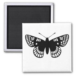 Mariposa negra del punto del inspector imán cuadrado