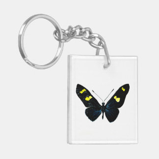 Mariposa negra llavero cuadrado acrílico a doble cara