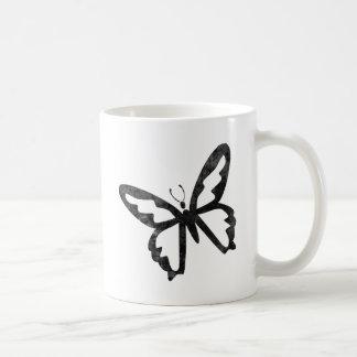 Mariposa negra sucia simple taza básica blanca