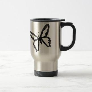 Mariposa negra sucia simple taza de viaje de acero inoxidable
