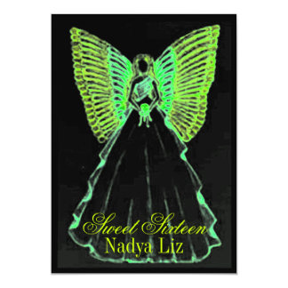 Mariposa negra verde Fairy-Cust. del dulce Invitacion Personal