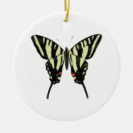 Mariposa negra y amarilla adorno redondo de cerámica