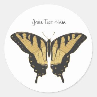 Mariposa negra y amarilla pegatina redonda