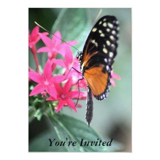 """Mariposa negra y anaranjada invitación 5"""" x 7"""""""