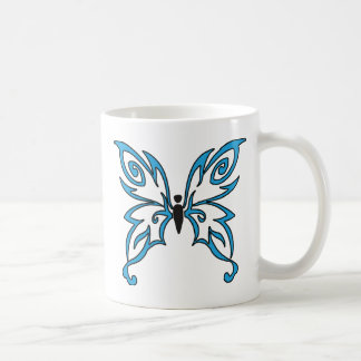 Mariposa negra y azul clara taza de café