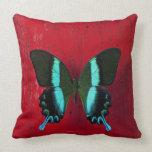 Mariposa negra y azul en la pared roja cojín