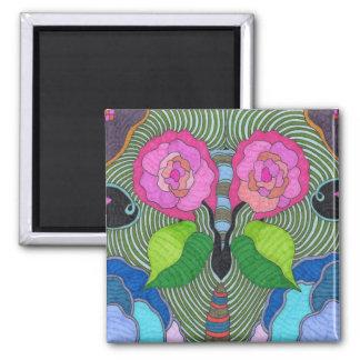 Mariposa--Ojos grandes del rosa Imán Cuadrado
