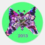 Mariposa para la buena suerte por Año Nuevo Etiqueta Redonda