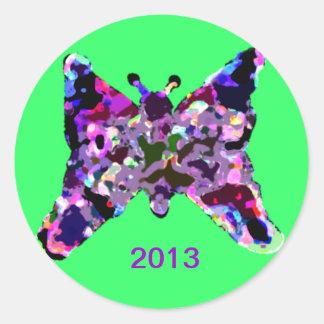 Mariposa para la buena suerte por Año Nuevo Pegatina Redonda