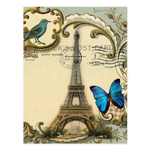 Mariposa París de la torre Eiffel del vintage del Postal