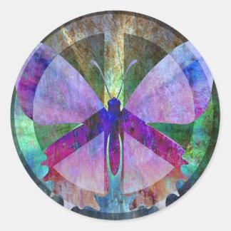Mariposa Paz-Llena Etiquetas Redondas