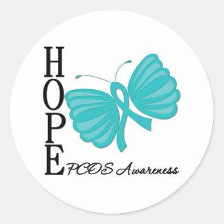 Mariposa PCOS de la esperanza Pegatina Redonda