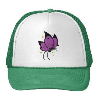 Mariposa pecosa llenada negro púrpura gorras