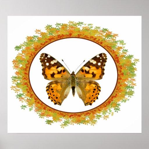 Mariposa pintada aislada de la señora en el marco  poster