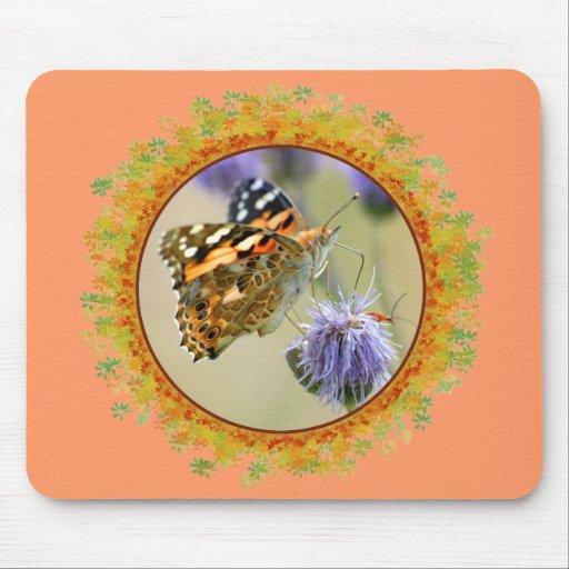 Mariposa pintada de la señora que alimenta en el m alfombrilla de ratón