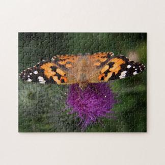 Mariposa pintada de la señora rompecabeza con fotos