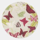 Mariposa - plantilla del personalizar pegatina redonda