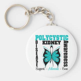 Mariposa policística de la conciencia de la llavero redondo tipo pin