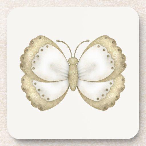 Mariposa poner crema y beige posavasos