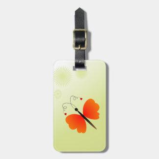 Mariposa preciosa de la primavera etiqueta de equipaje