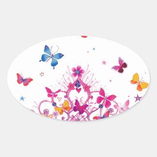 Mariposa preciosa del infinito pegatina ovalada