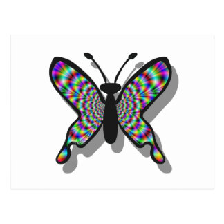 Mariposa psicodélica del arco iris postal