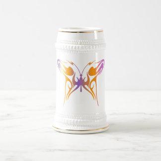 Mariposa psicodélica jarra de cerveza