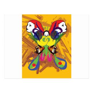 Mariposa psicodélica postal