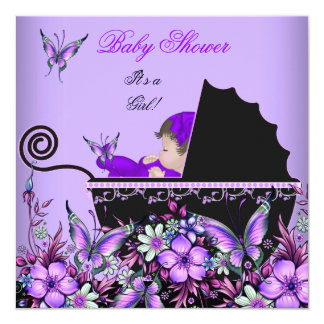 Mariposa púrpura 2 de la niña linda de la fiesta comunicado personalizado