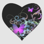 Mariposa púrpura brillante pegatina de corazon personalizadas