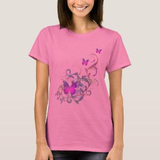Mariposa púrpura brillante playera