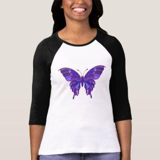 Mariposa púrpura/camiseta fibro de la conciencia playera