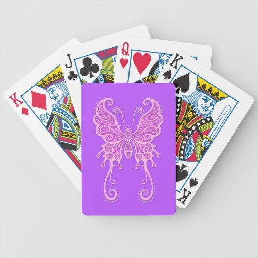 Mariposa púrpura compleja baraja cartas de poker