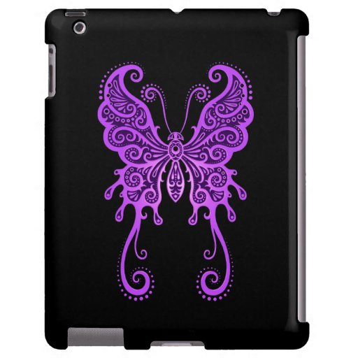 Mariposa púrpura compleja en negro