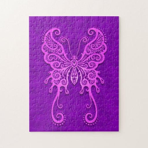 Mariposa púrpura compleja puzzles con fotos