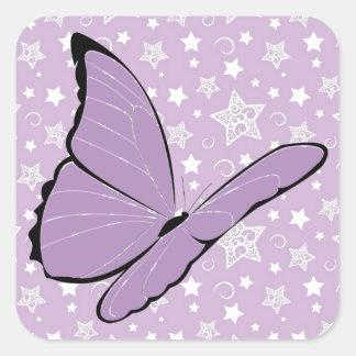 Mariposa púrpura de la conciencia pegatina cuadrada