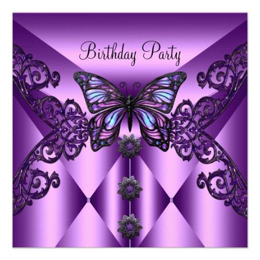 Mariposa púrpura de la lila de la fiesta de cumple anuncios