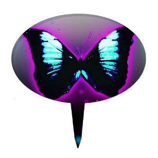 Mariposa púrpura de la turquesa figura para tarta