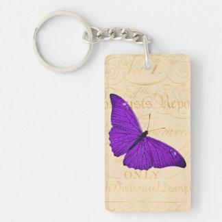 Mariposa púrpura de los 1800s del vintage en el llavero rectangular acrílico a una cara