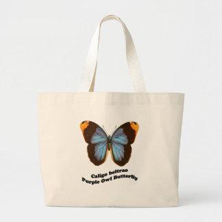 Mariposa púrpura del búho bolsa tela grande