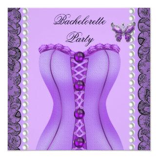 "Mariposa púrpura del corsé de la lila del fiesta invitación 5.25"" x 5.25"""