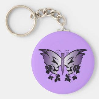 Mariposa púrpura del cráneo llavero personalizado