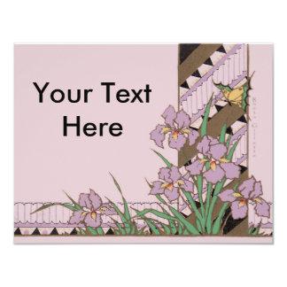 """Mariposa púrpura del iris de Pascua del art déco Invitación 4.25"""" X 5.5"""""""