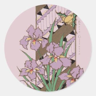 Mariposa púrpura del iris de Pascua del art déco Pegatina Redonda