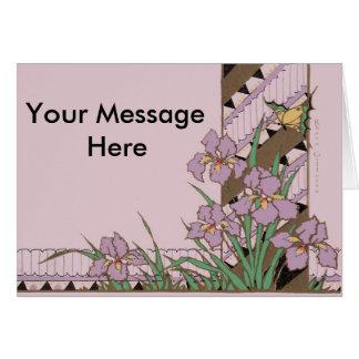 Mariposa púrpura del iris de Pascua del art déco Tarjeta De Felicitación