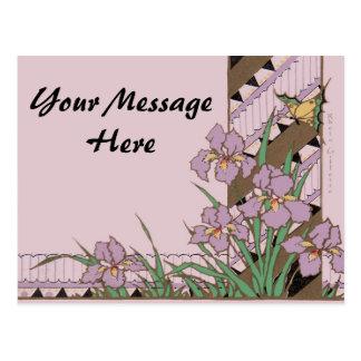 Mariposa púrpura del iris de Pascua del art déco Tarjetas Postales
