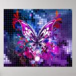 Mariposa púrpura en el poster del fondo del mosaic