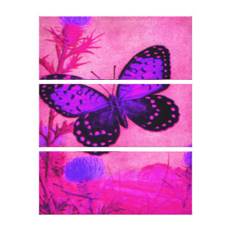 Mariposa - púrpura, magenta, negro impresión en lienzo